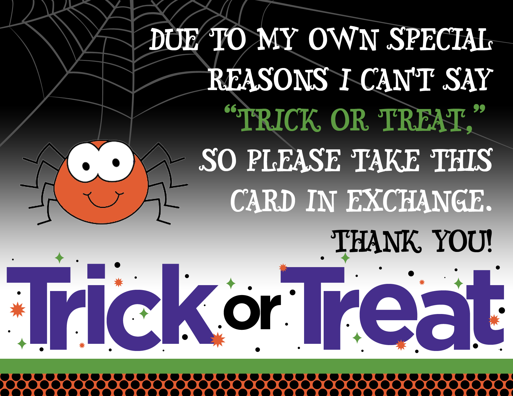 trick or treat printable autism non-verbal kids